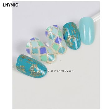 Luxury Mosaic fake nails blue & green Diamond block with golden powder nail art design