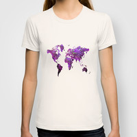 Purple World Map T-shirt by Haroulita