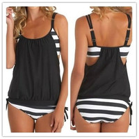 Women's stripes Lined up double up tankini top swimwear(plus size) [9222224644]