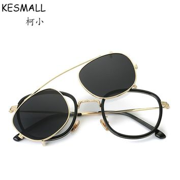Fashion Eyeglasses Frame Magnetic Clip On Glasses 2 In 1 Women Men Driving Clip On Sunglasses Magnet Myopia Glasses Frame YJ786