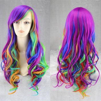 Hot Anime My Pony Cosplay Wig Halloween Little Horse Play Wig Party Stage Rainbow  Hair