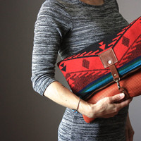 Large Leather fold over clutch, fold over bag, fold over purse, wool fabric and  leather clutch with leather tassel , cowhide clutch