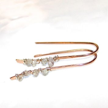Raw Diamond Bar Earrings Rose Gold Earrings Rustic Jewelry Real Diamond Jewelry Pink Gold Jewelry Rough Diamond Bar Spring Earring FizzCandy