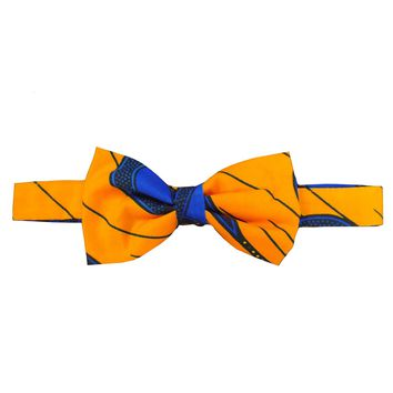 Abeo African Print Bow Tie (Peacock Feather Yellow/Blue)