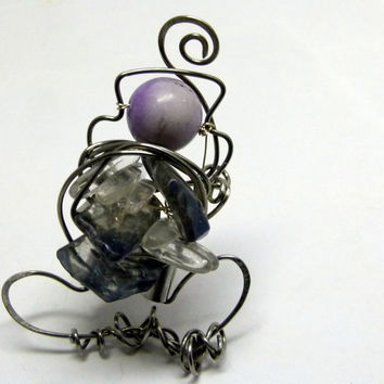 The waiting lady , Crystal art ring in wire , big statement ring with crystal chunks , quartz, and river stone