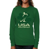 USA Field Hockey Ladies St. Paddy's Long Sleeve Slim Fit T-Shirt - Green