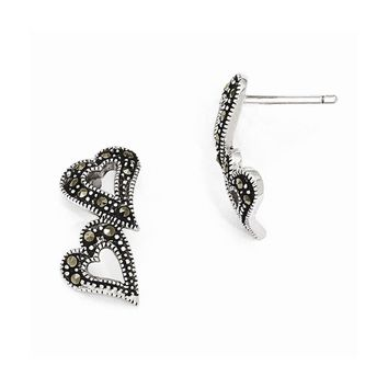 Sterling Silver Marcasite Heart Post Earrings