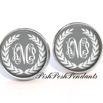 Grey Wreath Monogram Earrings, Monogram Stud Earrings, Personalized Earrings, Style 554