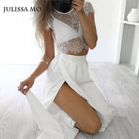 New Arrival Lace Long Dress Sexy Hollow Out Elegant Party Women Bodycon Vestidos Casual Two Pieces Pink White Maxi Dress
