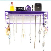 "Purple 17"" Wall Mount Jewelry & Accessory Storage Rack Organizer Shelf for Earrings, Bracelets, Necklaces, & Hair Accessories:Amazon:Home & Kitchen"