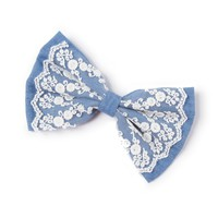Large Denim and Embroidered Lace Bow Hair Clip    Icing