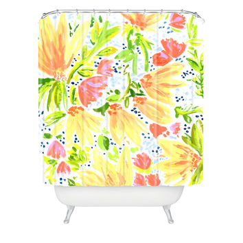 Joy Laforme Orange Blossom Shower Curtain