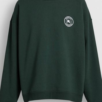 Embroidered Logo Jersey Sweatshirt in Forest Green - Men | Burberry United States