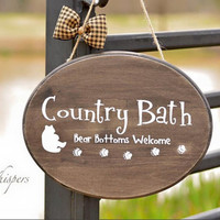 Rustic Bear Bathroom Decor, Rustic Bath Wall Hanging, Country Bath Bear Sign,  Bath Home Decor Sign, Hand Painted Wood Bathroom Sign