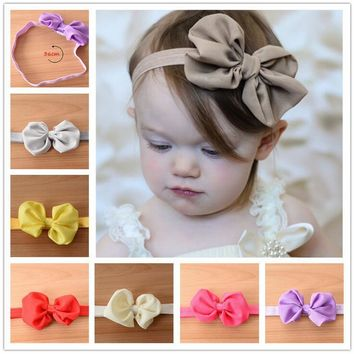 2017 10 Colors Chiffon Bowknot Kids Headbands Solid Color Girl Elastic Hair Bands Flower Bow Headband XHH04192
