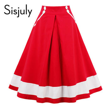Sisjuly women vintage skirt summer red white striped skirts female nautical style a line pretty vintage 2017 new skirts