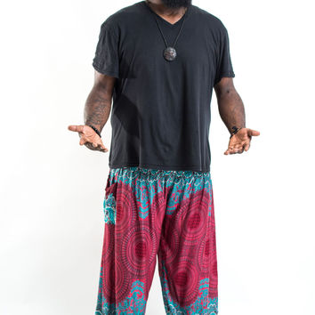 Plus Size Geometric Mandalas Men's Harem Pants in Red