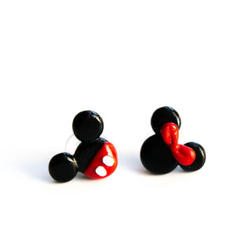 Mickey and Minnie earrings studs