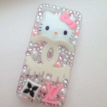Bleeding Hello Kitty Sparkly Crystallised Bling iPhone 5 Protective Cell Phone Case Cover