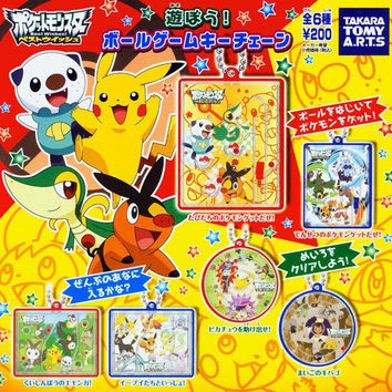 Takara Tomy Pokemon Pocket Monster Gashapon Ball Game Key Chain 6 Figure Set
