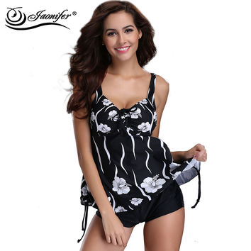 JAONIFER Women Plus Size Swimwear  Swimsuit Push Up Swimsuit Print Floral Swimwear Beachwear Backless Bathing Suit