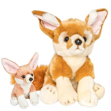 12 and 6 Inch Stuffed Fennec Fox Mom and Baby Plush Floppy Zoo Animal Kingdom Family Collection