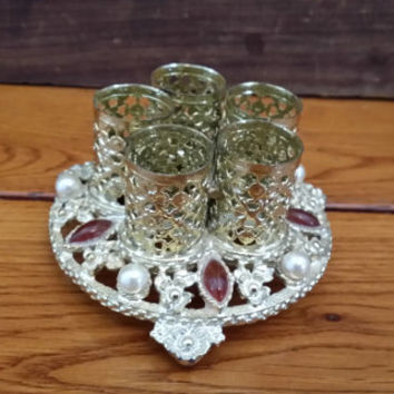 Vintage Ornate Gold Toned Filigree Sam Fink Five Lipstick Holder with Pearls and Red Stone Perfect For Your Vanity Boudoir Photography Prop