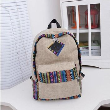 backpack women Canvas Backpack Floral Stripe School Shoulder Bag Travel Rucksacks girls backpack mini backpack