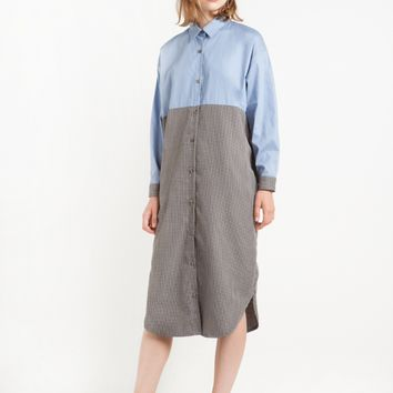 Tweed Cotton Shirt Midi Dress