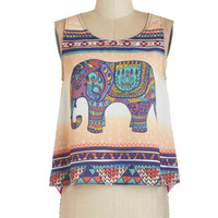 ModCloth Safari Sleeveless Cropped Pachyderm the Trunk Top