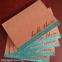 Teal Glitter - Hello There Cards with Envelopes (set of 5)