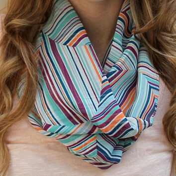 Geometric Scarf, Cowl Scarf, Circle Scarf, Eternity Scarf, Mint Green, White, Orange, Raspberry