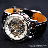 Men's wristwatches, Mechanical Watch Steampunk White &Silver Partially Transparent Hollow Dial PU Leather Band Hand-winding Mechanical Watch