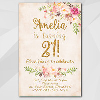 21st Birthday Invitation, Peach Gold Invitation, Any age 13th 18th 21st 30th 40th 50th, Custom Birthday Party invitation XA302p