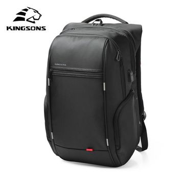 Student Backpack Children Kingsons Brand External USB charge backpack male anti theft Waterproof laptop backpack 13 15 17 inch mochila Student School Bags AT_49_3