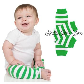Green & White Striped Leg Warmers, Striped Leg Warmers, Baby Boys & Girls Accessories, Toddlers