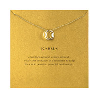 18k Gold Dipped Karma Dainty Necklace With Card
