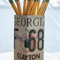 Georgia License Plate Pencil Holder - Pencil Cup - Unique Pencil Cup - Desk Accessories - Office Decor - Pen Cup - Pen Holder - State Decor