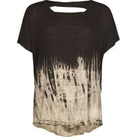 Full Tilt Die Dye Slash Back Girls Crop Top Black  In Sizes