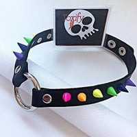 "Vegan Leather ""O"" Ring Bondage Pride Slave Fetish Choker with RAINBOW Spikes!"