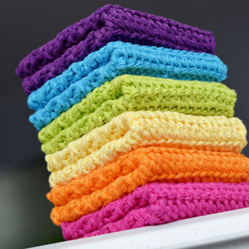Crochet Rainbow Dishcloth/ Washcloth - Handmade Wash Rag -Set of 6 Kitchen Dish Cloths- Pink, Orange, Yellow, Green, Blue, Purple Wash Cloth