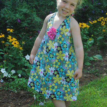 PDF Girls Sewing pattern Halter dress Size 4,5,6