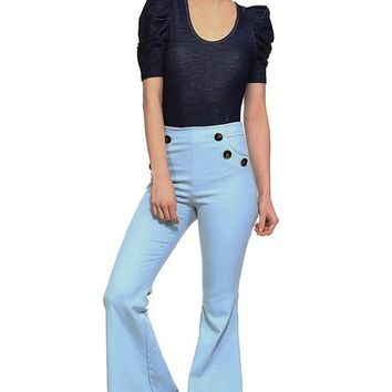 high waist bell bottom jeans with button detail