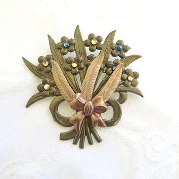 Vintage Flower Bouquet Brooch, Rhinestone Forget-Me-Not Flowers, Rose Gold Bow