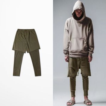 Plain Army Green Men Harem Pants Fashion High Street fake two pieces Man Sweatpants Vintage Hombre Compression Joggers S-XXXL
