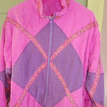 Vintage 80s Colorblock 100% Silk Pink and Purple Windbreaker Jacket Size M