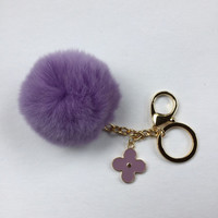 NEW Pom-Perfect Purple REX Rabbit fur pom pom ball with black flower keychain