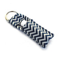 Navy Blue and Silver Chevron Chapstick Keychain - Blue Chevron Lip Balm Holder Cozy