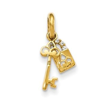 14kt Yellow Gold Skeleton Key with CZ Accented Pad Lock Girls Pendant