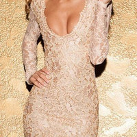 Nude Plunging Neckline Long Sleeve Backless Lace Dress